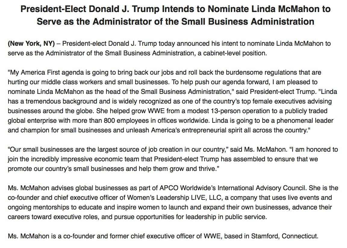Donald Trump intends to nominate Linda McMahon