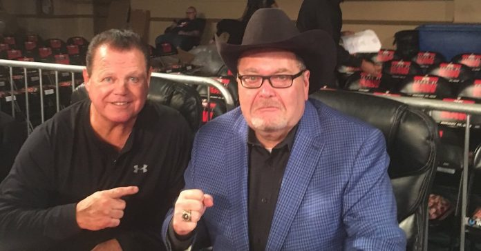 Jim Ross and Jerry Lawler at the 25th anniversary of RAW