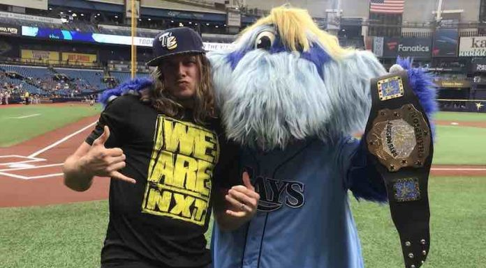 Matt Riddle throws first pitch at Tampa Bay Rays game