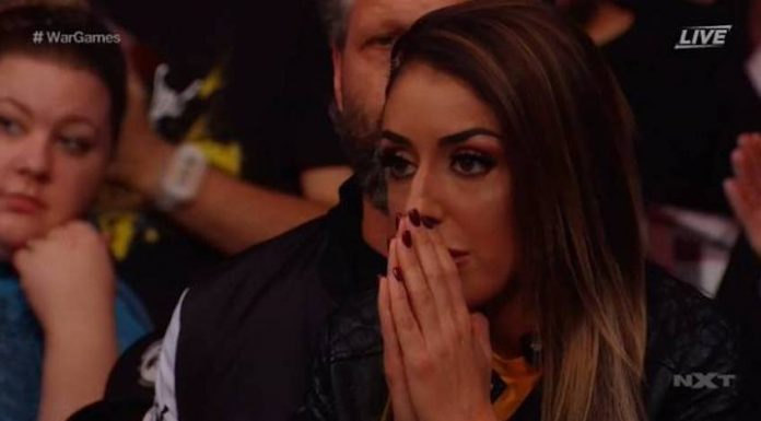 AEW star Britt Baker shown on-screen during last night's NXT TakeOver: WarGames III