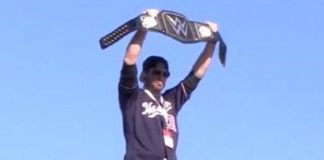 Max Scherzer poses with WWE Title Belt at World Series Victory Parade
