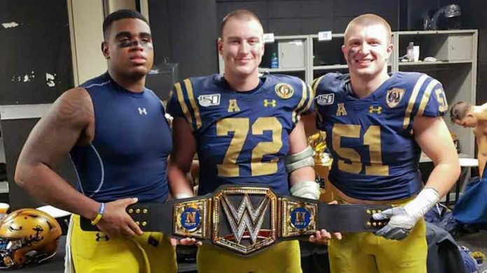 Navy celebrates win over Army with custom WWE Title Belt
