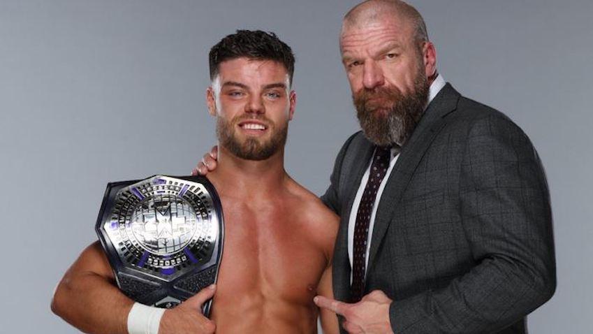 Triple H congratulates Jordon Devlin on winning NXT Cruiserweight Championship
