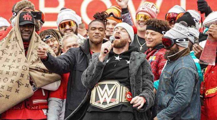 Kansas City Chiefs custom WWE Title Belt at Super Bowl Victory Parade