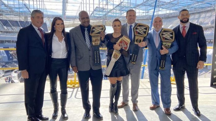 Local officials in Inglewood, California presented with custom WWE Title Belts