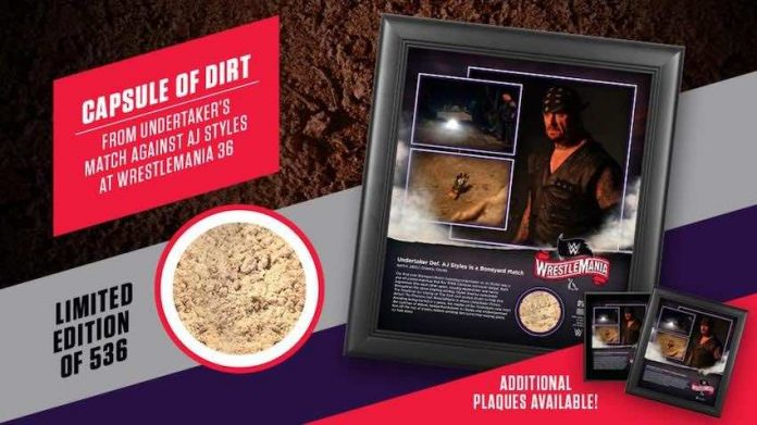 WWE selling dirt and Limited Edition Plaque from Boneyard Match