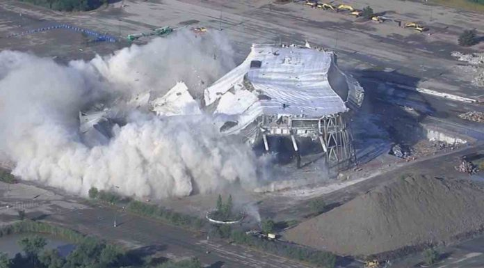 Palace of Auburn Hills was imploded on Saturday