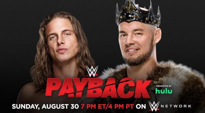 Matt Riddle vs. King Corbin taking place at Sunday's Payback PPV