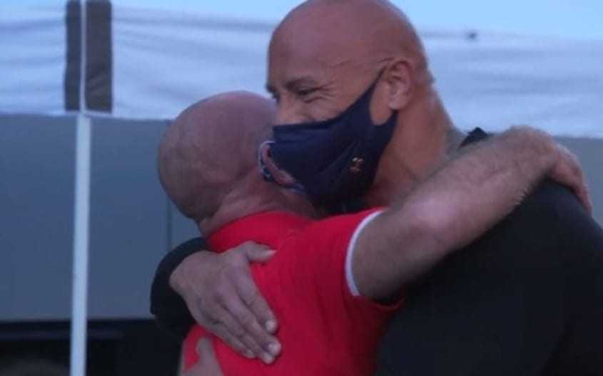 """""""The Rock"""" surprises long-time WWE employee Harvey Wippleman with a new truck"""