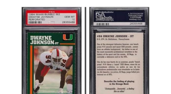 """The Rock's"" Johnson's college football card sells for over $45,000"