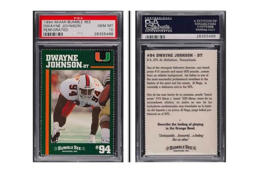 """""""The Rock's"""" Johnson's college football card sells for over $45,000"""