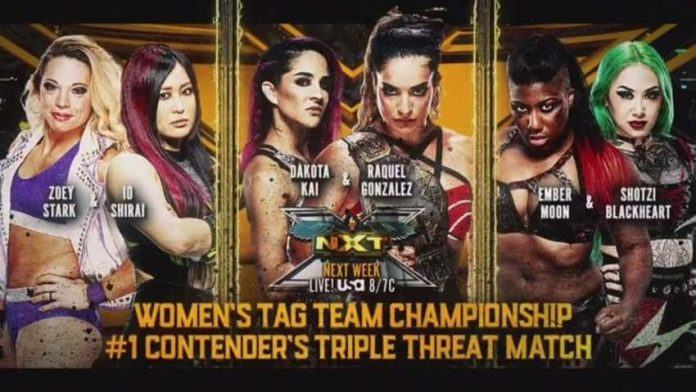 Triple Threat No. 1 Contenders Tag Match on next week's WWE NXT