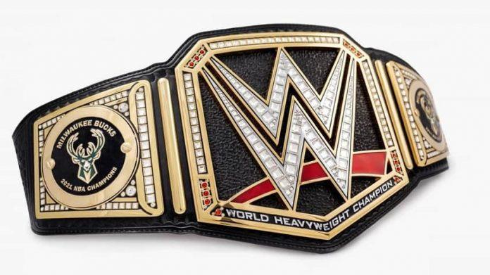 NNBA Champions Milwaukee Bucks receiving a custom WWE Title Belt