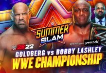 Goldberg challenging Lashley for the WWE Title official for SummerSlam